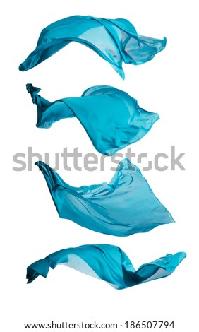 Isolated shots of freeze motion of transparent blue silks, isolated on white background - stock photo