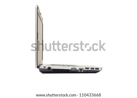 isolated side angle of laptop