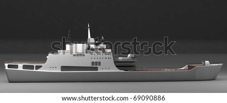 Isolated side view of warship - stock photo