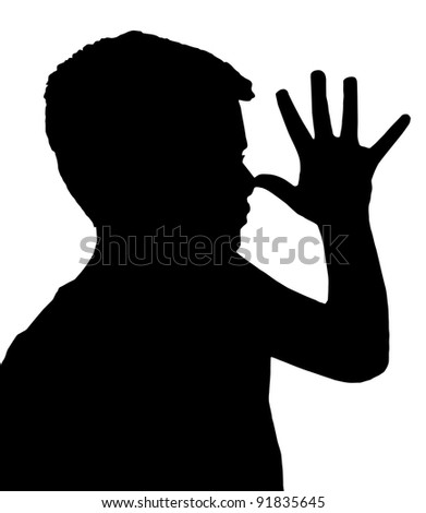 Isolated Silhouetted Boy Child Gesture and Activity Teasing - stock photo