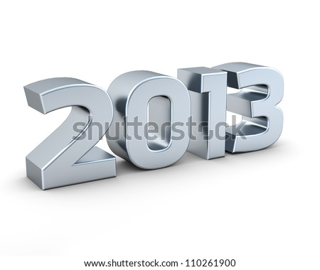 Isolated silver 2013 on white background - stock photo