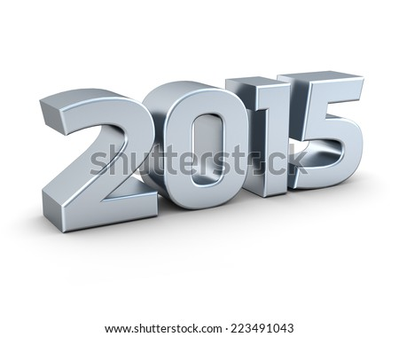 Isolated silver 2015 on white background