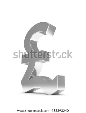 Isolated silver pound sign on white background. British currency. Concept of investment, european market, savings. Power, luxury and wealth. Great Britain, Nothern Ireland. 3D rendering.