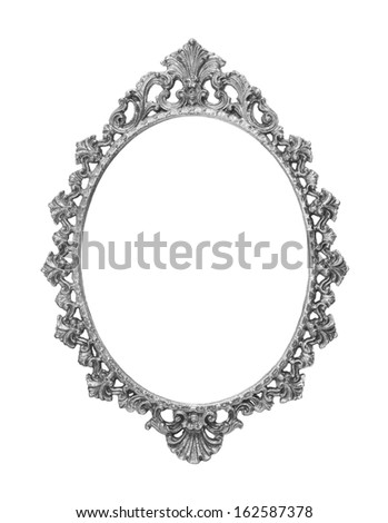 isolated silver vintage metal frame - stock photo