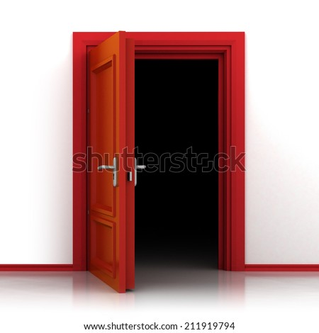 isolated single red opened door out closeup 3D illustration - stock photo