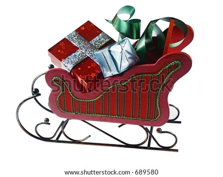 isolated slead and presents - stock photo