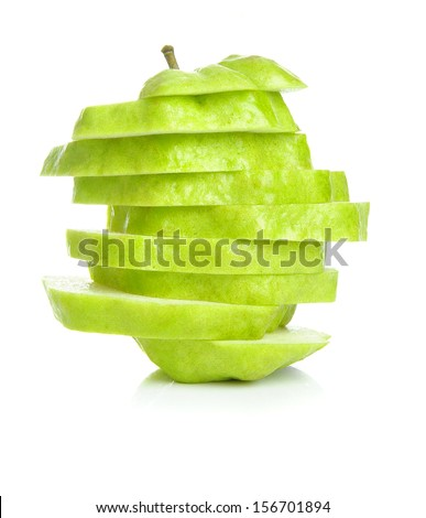 isolated sliced guava on white background
