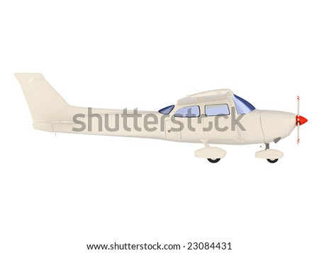 isolated small airplane over white background - stock photo