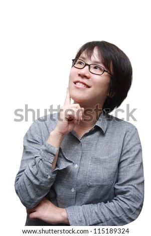 isolated smart asian woman  thinking - stock photo