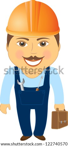 isolated smile builder with bag for tools - stock photo