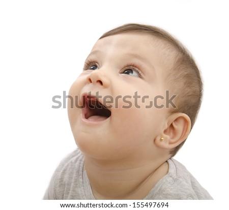 Isolated smiling baby portrait on white background - stock photo