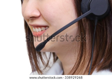 isolated smiling  call centers' woman on white background - stock photo