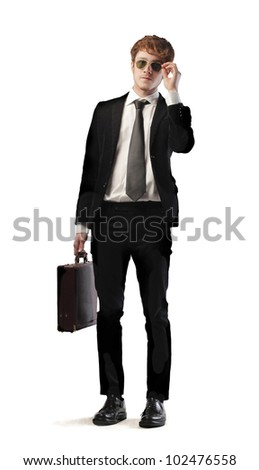 Isolated smiling young businessman - stock photo