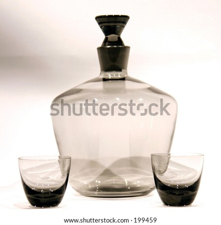 isolated smoked glass antique decanter