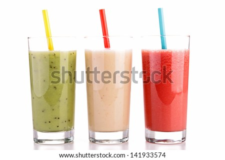 isolated smoothies - stock photo
