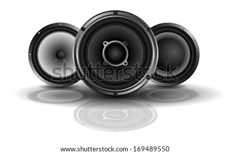 isolated speakers - stock photo