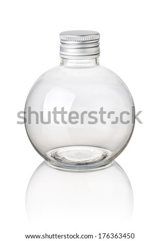 isolated spherical bottle - stock photo