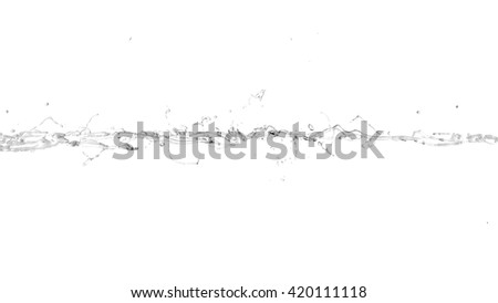Isolated splash on a white background. Water, drop, water flow, liquid, black and white. 3D illustration, 3D rendering