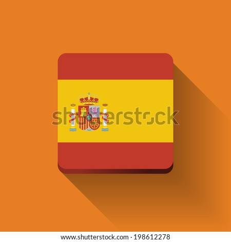Isolated square button with national flag of Spain. Flat design. Raster illustration. - stock photo