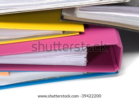 Isolated stack of folders isolated on white background