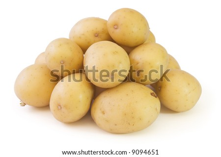 isolated stack of washed potatoes