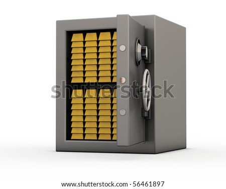 Isolated stainless safe full of golden bars with half opened door