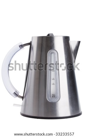 Isolated Stainless Steel Kettle - stock photo