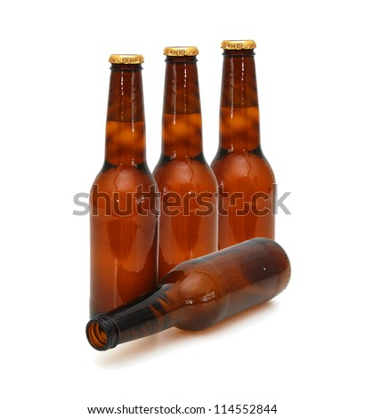 isolated standing beers on white - stock photo