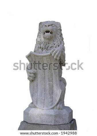 Isolated statue of lion with coat of arms