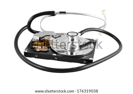 Isolated stethoscope on the hard disk drive over white - stock photo