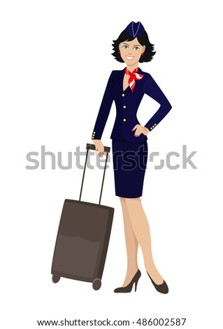 Isolated stewardess with a suitcase