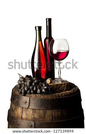 isolated still life with red wine - stock photo