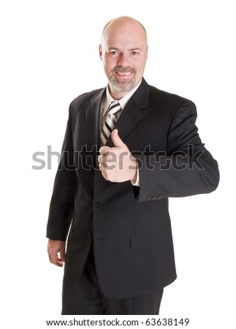 Isolated stock photo of a caucasian businessman looking at the camera and smiling while giving a thumbs up. - stock photo