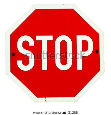 Isolated stop sign - stock photo
