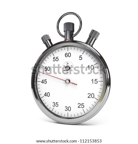 Isolated stopwatch on white. Clipping path included. Computer generated image.