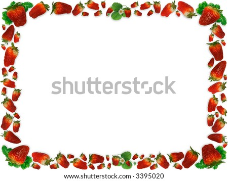 Isolated strawberries and green leaves on white creating a frame