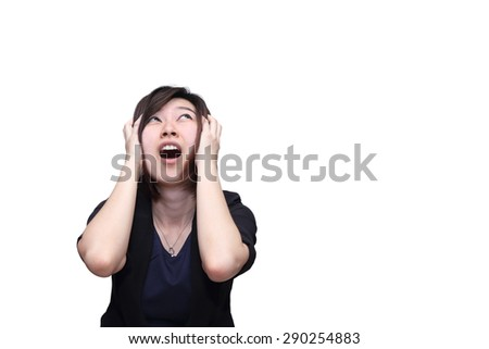 isolated stress asian woman on white background