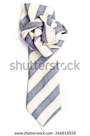 isolated striped tie folded flower - stock photo