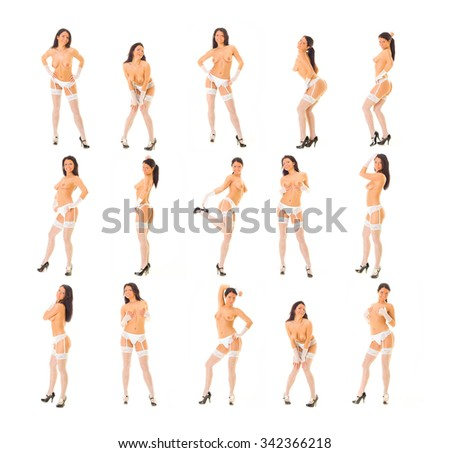Isolated Stripper Undressing Model  - stock photo