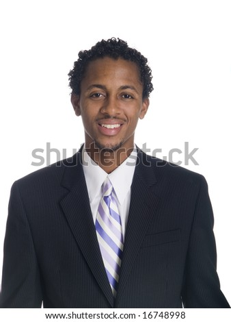 Isolated studio head shot of a relaxed businessman smiling at the camera. - stock photo