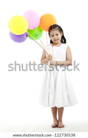 isolated studio picture from a little girl with balloons