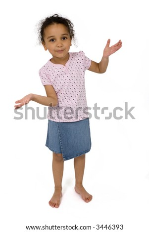 Isolated studio shot of a beautiful mixed race little girl standing up and making a decision, created with a subtle drop shadow.