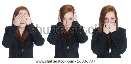 Isolated studio shot of a businesswoman in the See No Evil, Hear No Evil, Speak No Evil pose. - stock photo