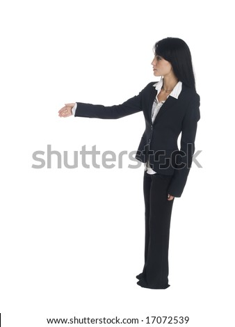 Isolated studio shot of a businesswoman reaching out to shake someone's hand