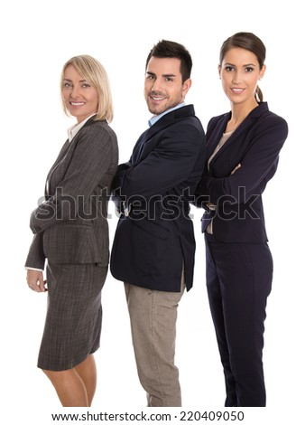Isolated successful male and female business team: concept for equality treatment. - stock photo