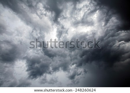 isolated summer storm clouds before a thunderstorm - stock photo