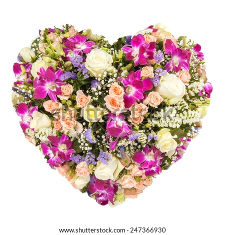 Isolated Summers flowers heart floral collage concept - stock photo