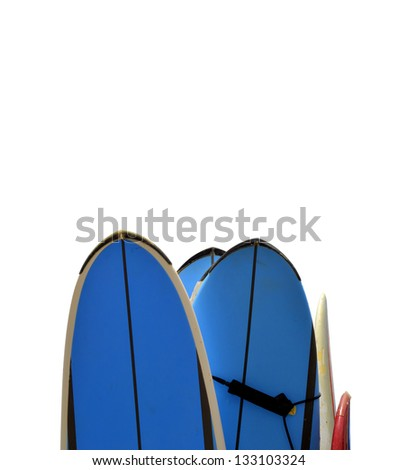 Isolated Surf Boards With Clipping Path And Copy Space - stock photo