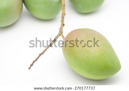 Isolated sweet and sour mangoes for tropical fruits on white background