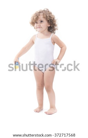 Isolated sweet blonde female baby with microphone